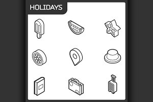 Holidays outline isometric icons
