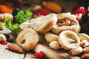 Healthy lean food: set of dried frui