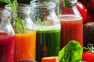 Four kind of vegetable juices: red,