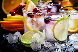 Home fizzy lemonade, fruit, ice, on