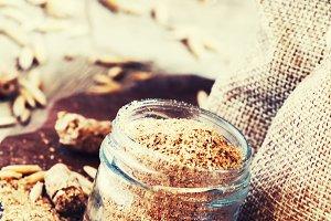 Healthy eating concept: oat bran, oa