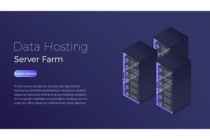 Data hosting. Datacenter server farm