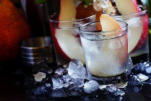 Alcoholic cocktail with pear, vodka,