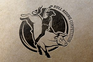 Set of vintage bull riding labels