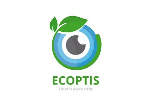Vector eye and leaf logo combination