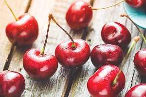 Macro photography of ripe cherry
