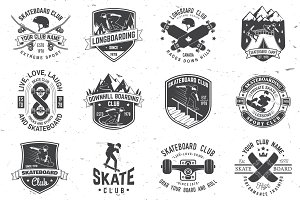 Set of Skateboard and longboard club