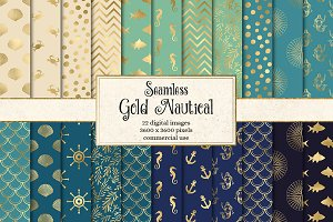 Gold Nautical Digital Paper