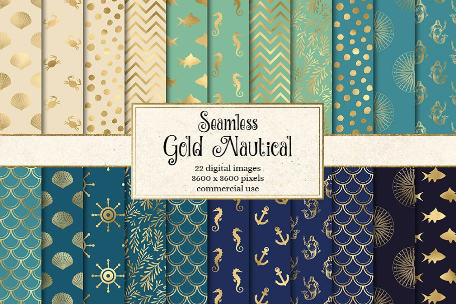 Gold Nautical Digital Paper