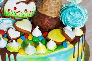 Children's modern cake rainbow color