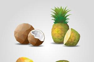 Geometric Polygonal Fruits Set