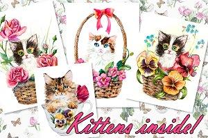 Kittens inside basket