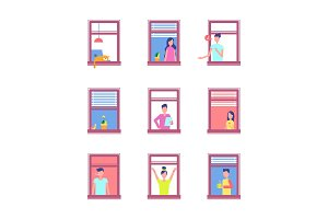 People in Open Windows Isolated on