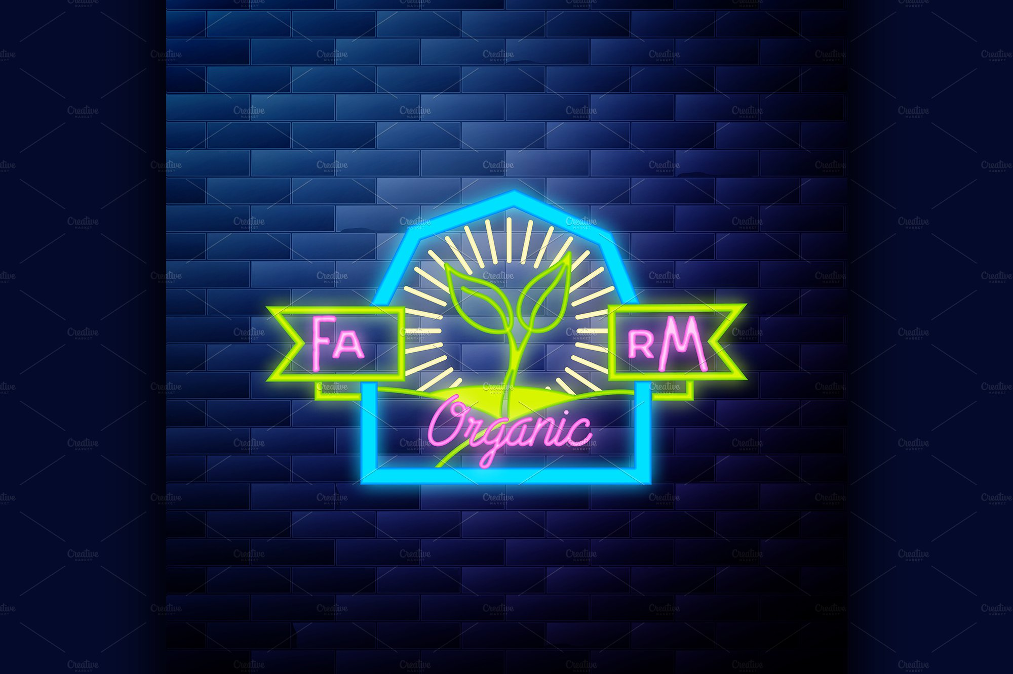 Vintage Farm Emblem Glowing Neon Illustrations Creative Market Eco Tools 1332 Glow For It