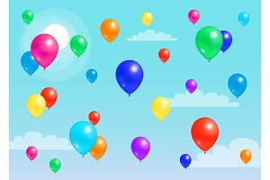 Colorful Balloons Flying Blue Sky