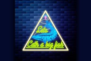 Vintage fishing emblem glowing neon