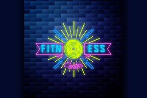 Vintage fitness, gym emblem
