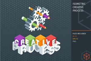Isometric creative process concept