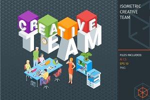 Isometric creative team concept