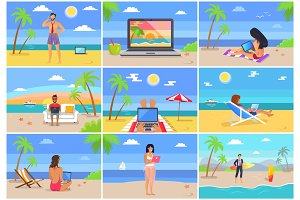 Freelancers at Work Seaside Vector