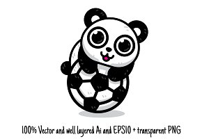 Soccer Panda Animal Sport Clipart