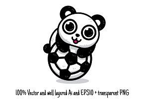 Soccer Panda Animal Sport Clipart