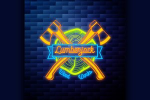 Vintage lumberjack emblem
