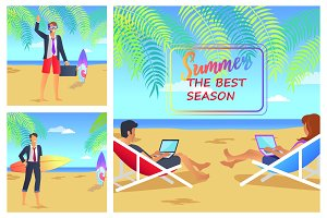 Summer the Best Season Cute Vector