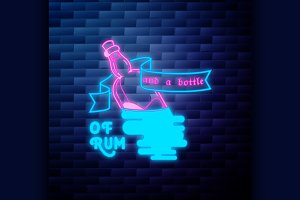 Vintage pirate emblem glowing neon