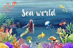 Sea World Watercolor Clipart
