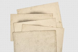 used paper cards isolated PNG