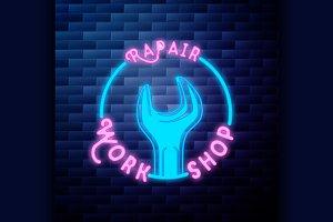 Vintage repair workshop emblem