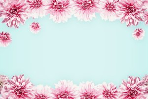 Pastel pink flowers on light blue