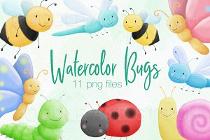 Watercolor Bugs Illustrations