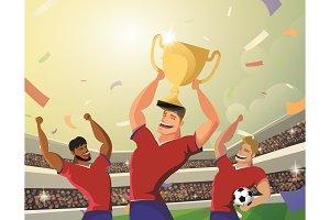 Winner team player holding soccer