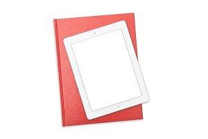 Office desk tablet white background