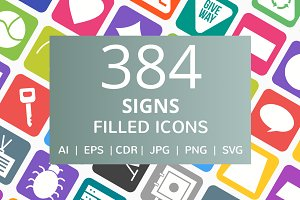 384 Signs Filled Round Corner Icons