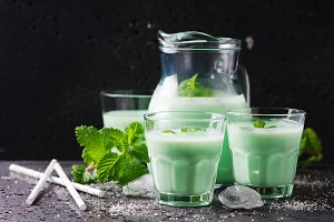 Italian traditional milk with mint