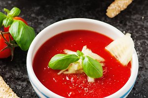Gazpacho soup with cucumber
