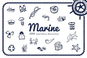 "100 HandDrawn Illustrations ""Marine"""