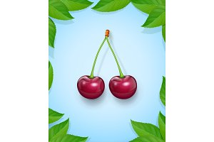 Two Cherries with green leaf. Fresh.