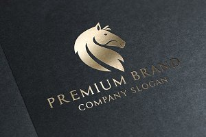 Premium Horse Logo & Mock-Up Vector