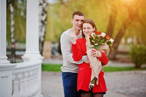 Marriage proposal. Girl with bouquet