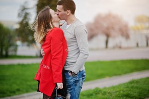 Kissed and huqqing couple in love