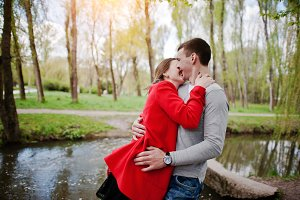 Hugging and kissed couple in love on