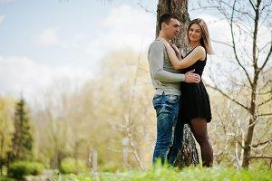 Happy romantic couple in love stay n