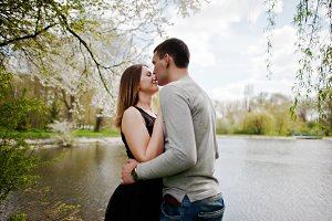 Young couple in love outdoor. Boy ki