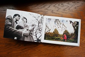 Open pages of album photobook couple