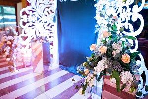 Decoration of flowers on wedding par