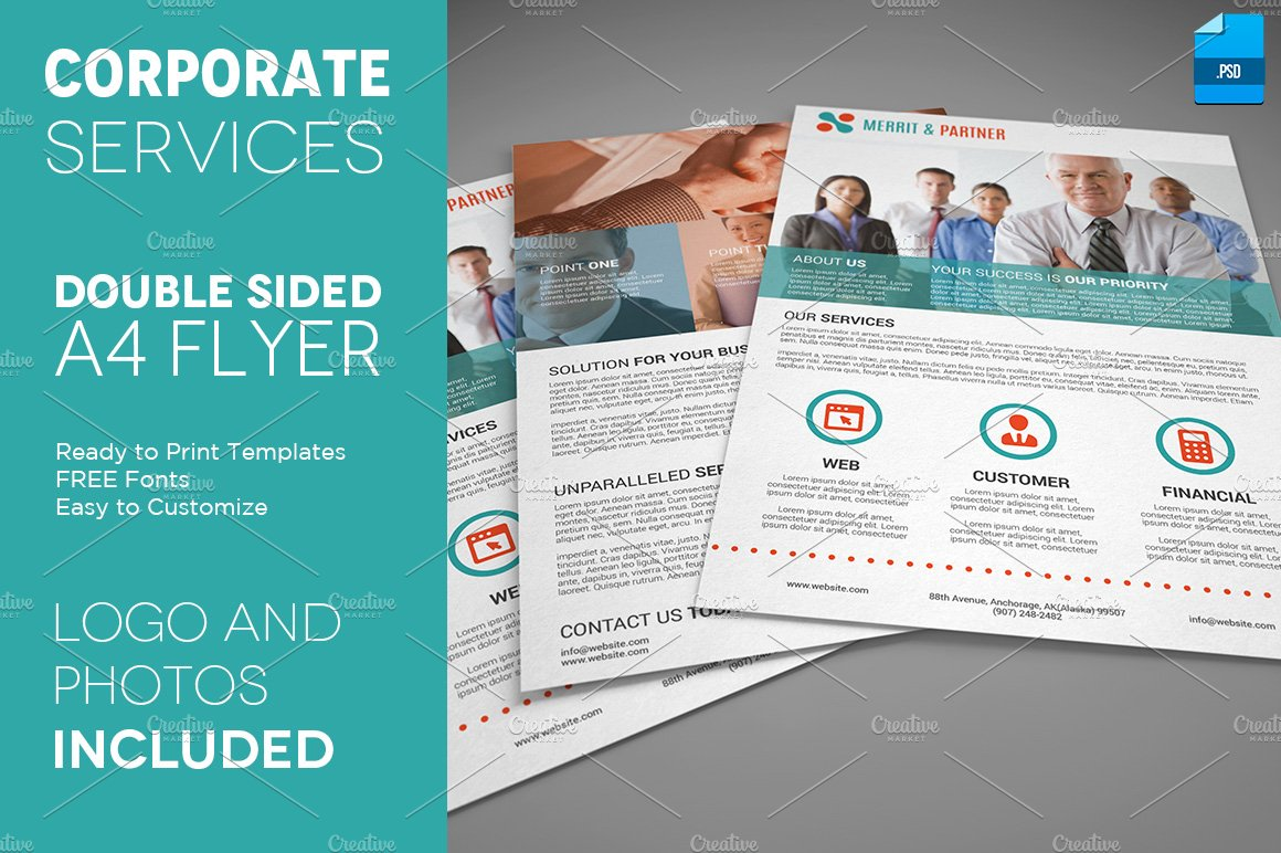 a4 double sided corporate flyer flyer templates creative market